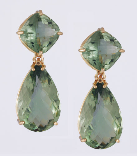 xGreen Quartz Earrings in 18k gold