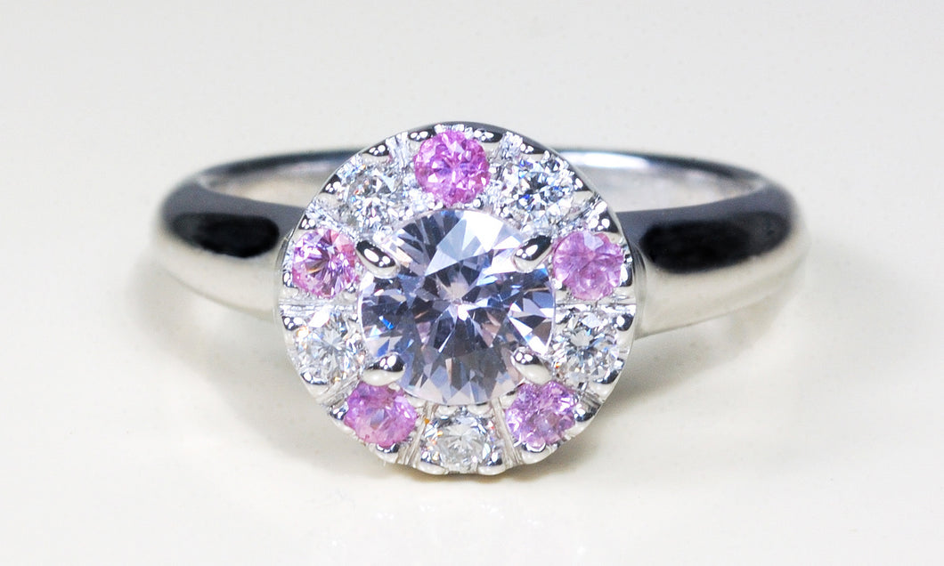 xDiamond and Pink Sapphire Engagement Ring