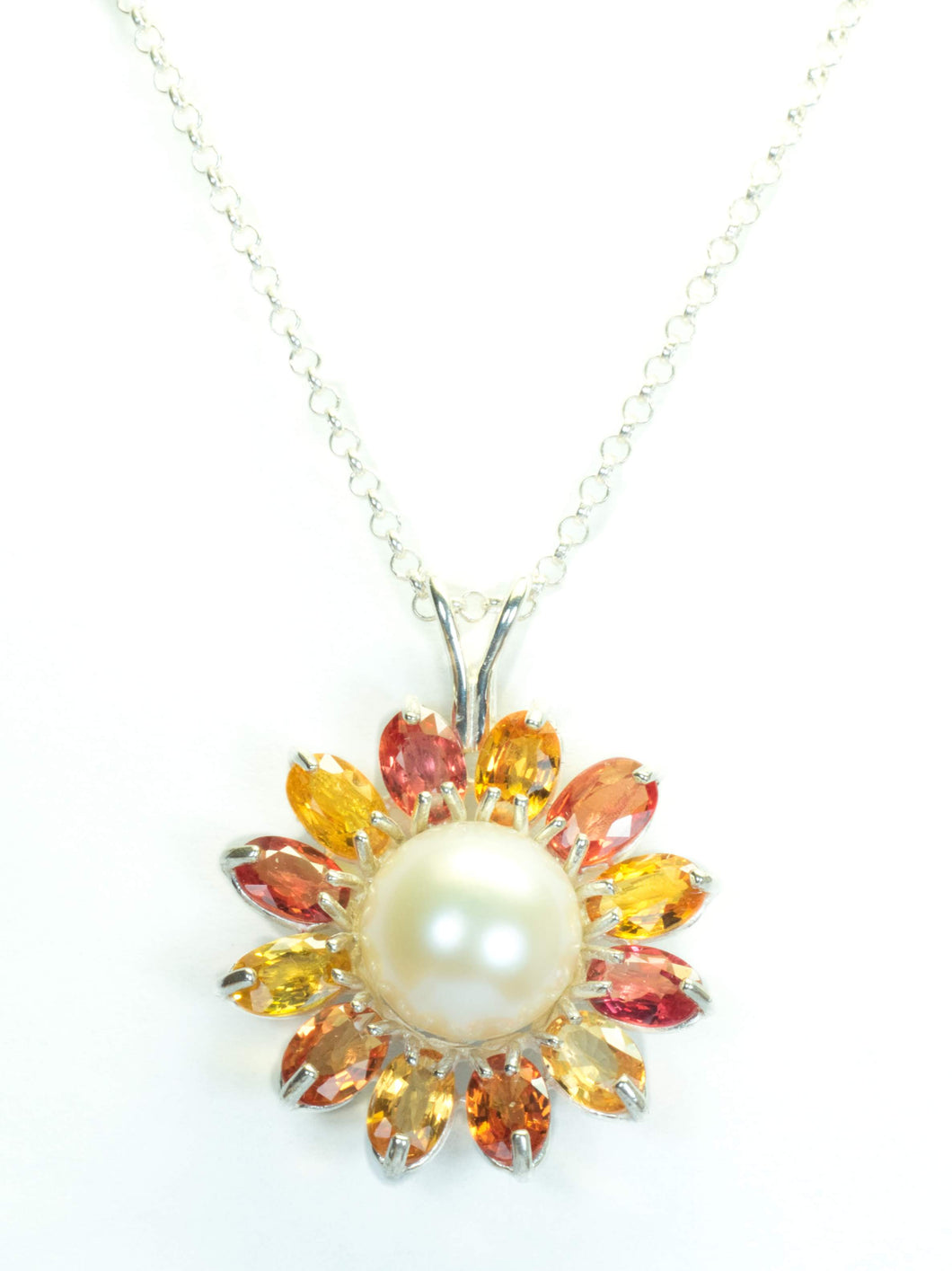 Hanna Collection. Pearl and Yellow and Orange Sapphire Pendant in Sterling Silver