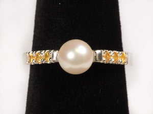 Akoya Cultured Saltwater Pearl and Yellow Sapphire Ring in Sterling Silver