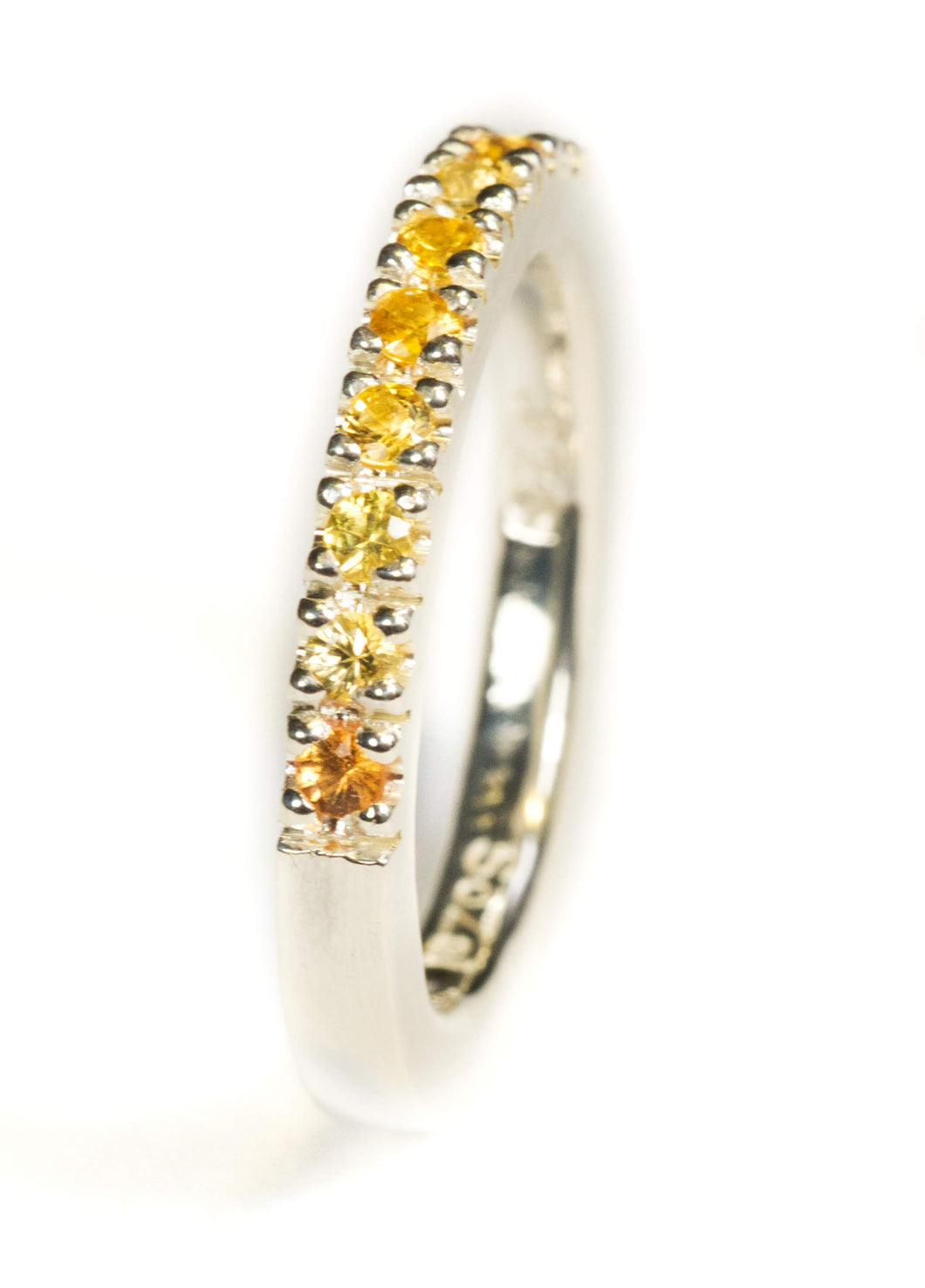 Stacking Ring. Yellow Sapphire in Sterling Silver Ring