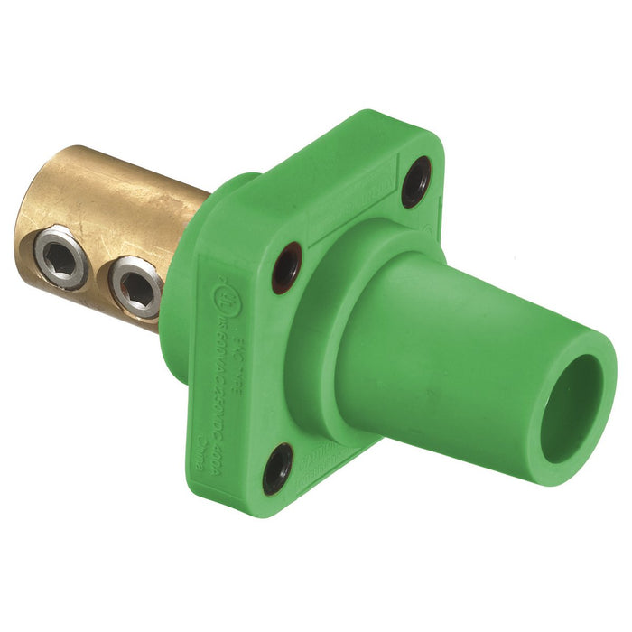 CONECTOR CAMLOCK 300-400A PANEL MOUNT CHASIS DOUBLE SET FEMALE GREEN