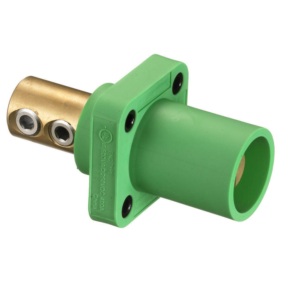 CONECTOR CAMLOCK 300-400A PANEL MOUNT CHASIS DOUBLE SET MALE GREEN