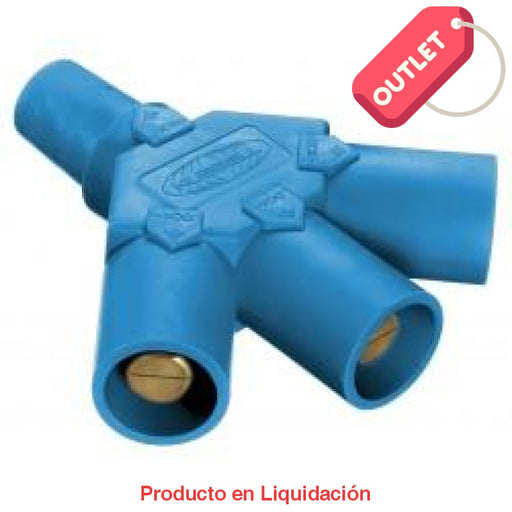 Conector Camlock Tri-Tap (Female-Male-Male-Male) Blue Outlet