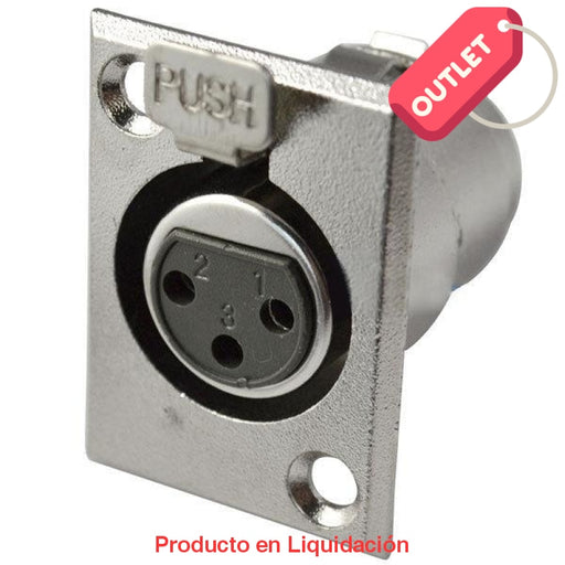 Conector Xlr Chasis 3 Pines Hembra Nickel/ Plata Outlet
