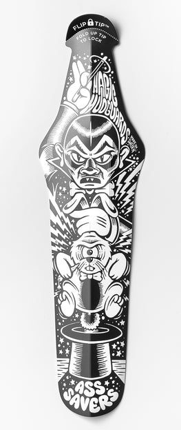 Black-and-white saddle mudguard with expressive graphic depicting magician pulling angry rabbit from hat by Martin Ander aka Mander