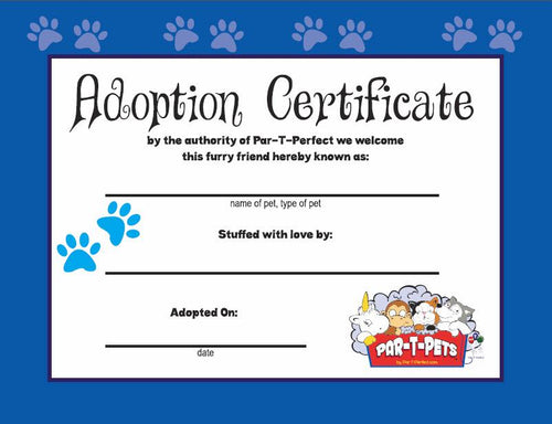 CERTIFICAT D'ADOPTION PAR-T-PET