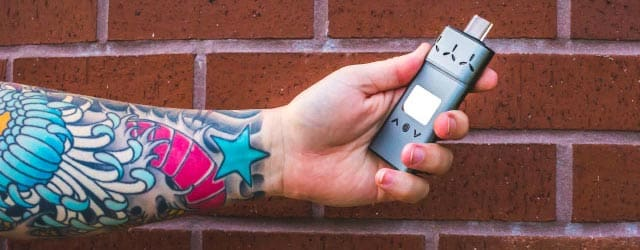 The super thin AirVape Xs hides easily in the grip of its owner.