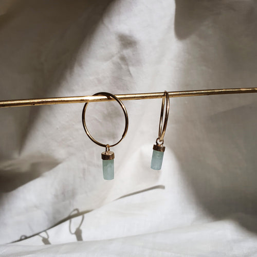 Crystal Hoops | Aquamarine