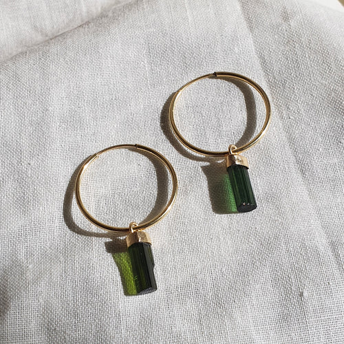 Crystal Hoops | Green Tourmaline