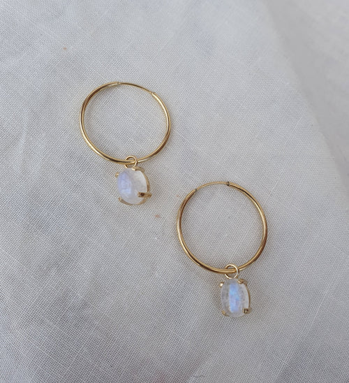 Crystal Hoops | Oval Opal