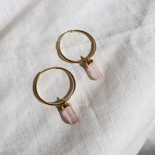 Crystal Hoops | Rose Quartz