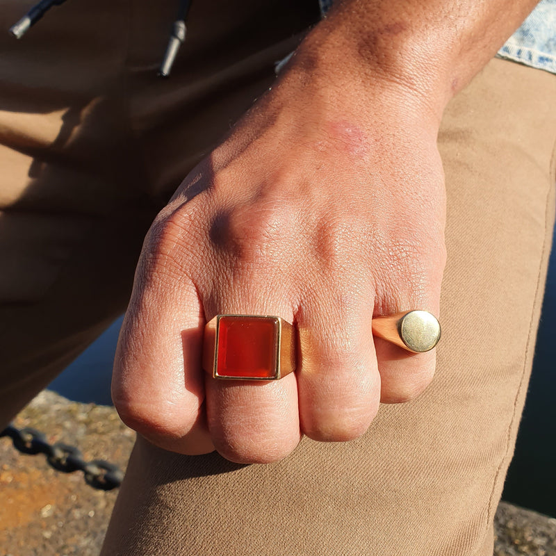 signet ring made of recycled solid silver and gold vermeil with a red agate gemstone