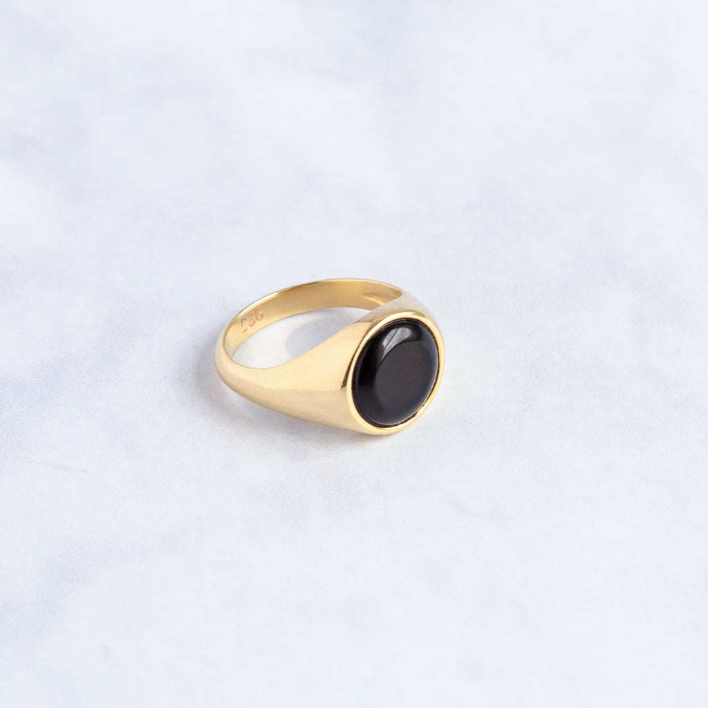 signet ring made of recycled solid silver and gold vermeil with a onyx