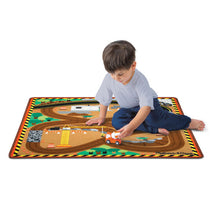 Round the Construction Zone Work Site Rug & Vehicle Set