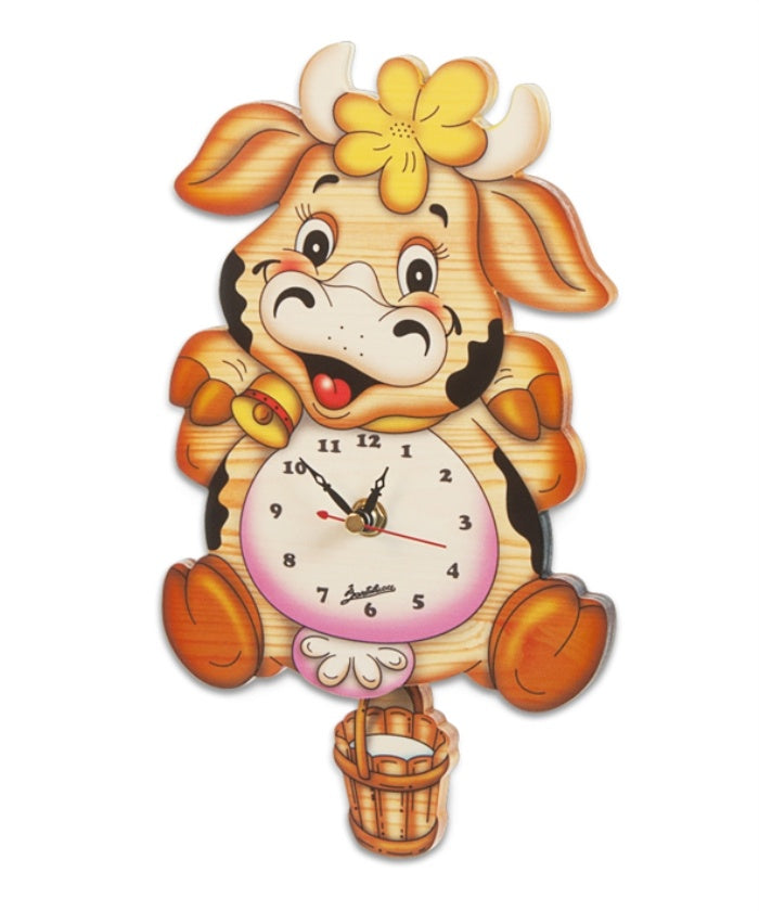 Medium Pendulum Clock - Cow