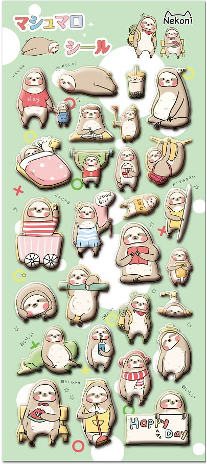 Sloth Puffy Stickers