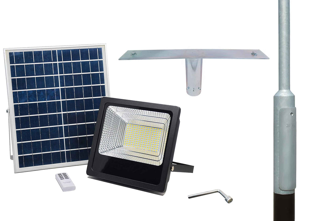 100W Solar LED Floodlight & Lighting Column Packages