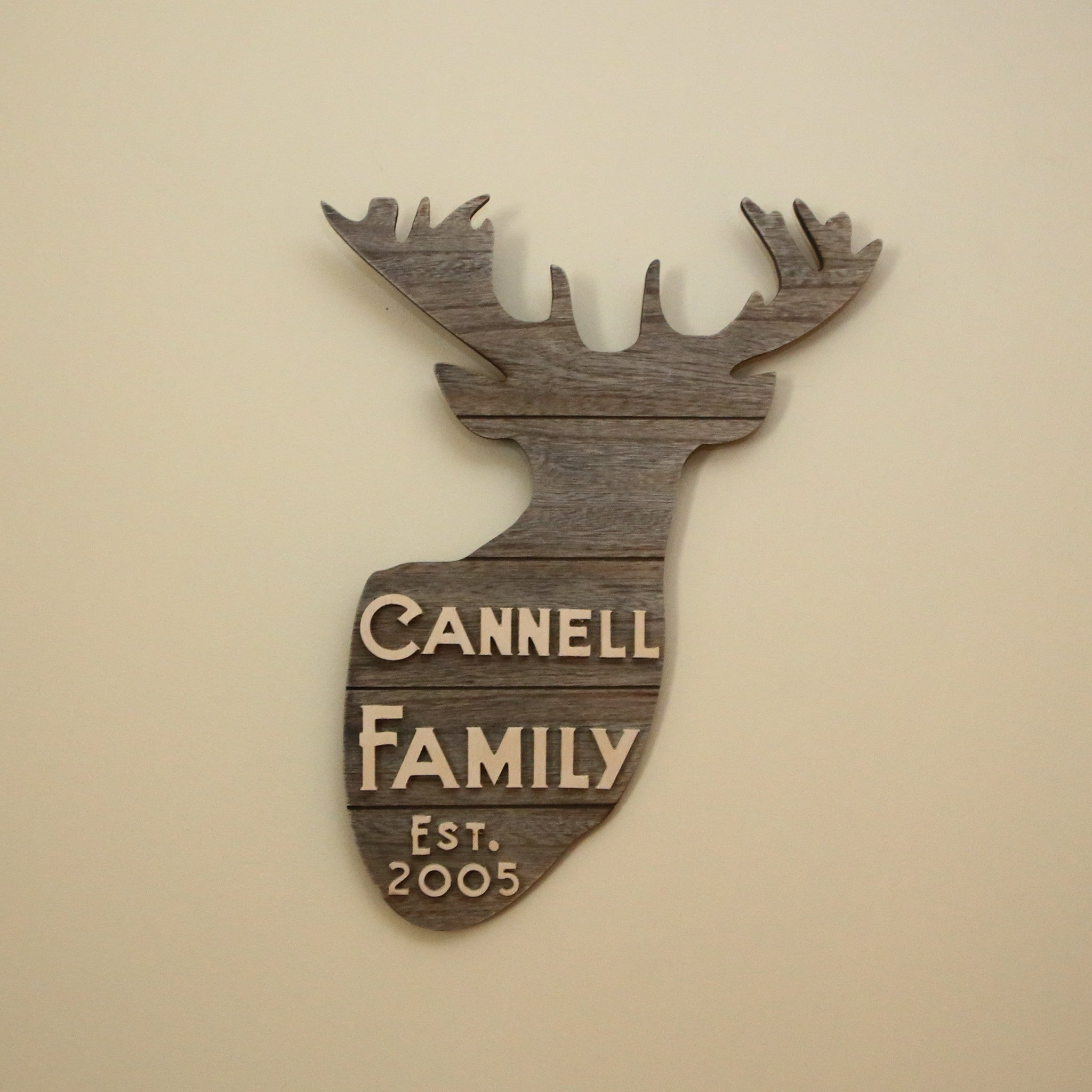 Deer Head Family Sign