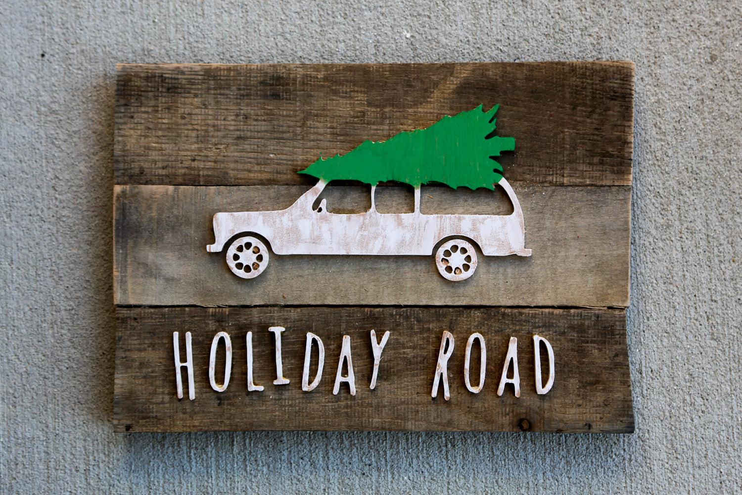Holiday Road Christmas Tree Reclaimed Wood Art
