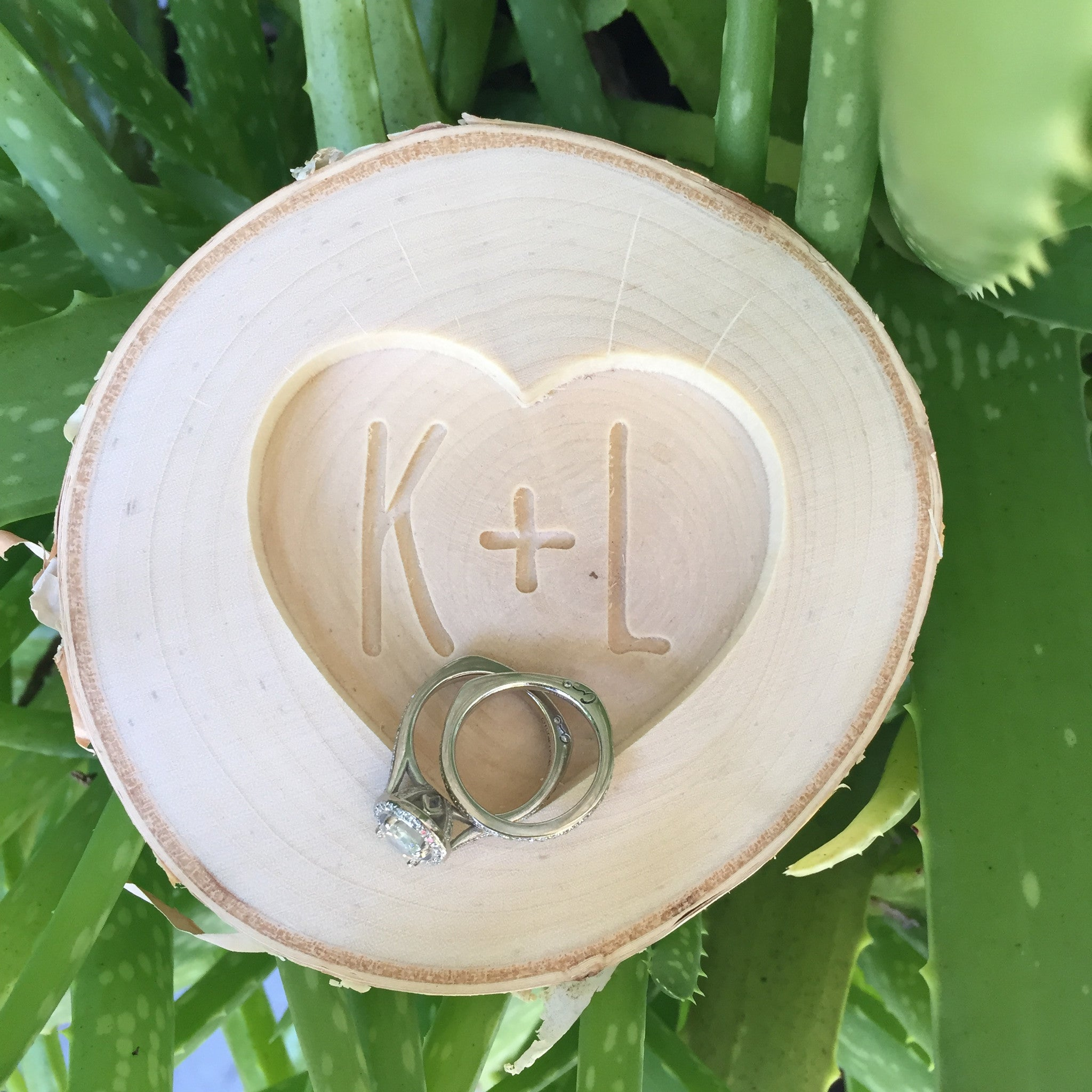 Heart Ring Plate with Initials