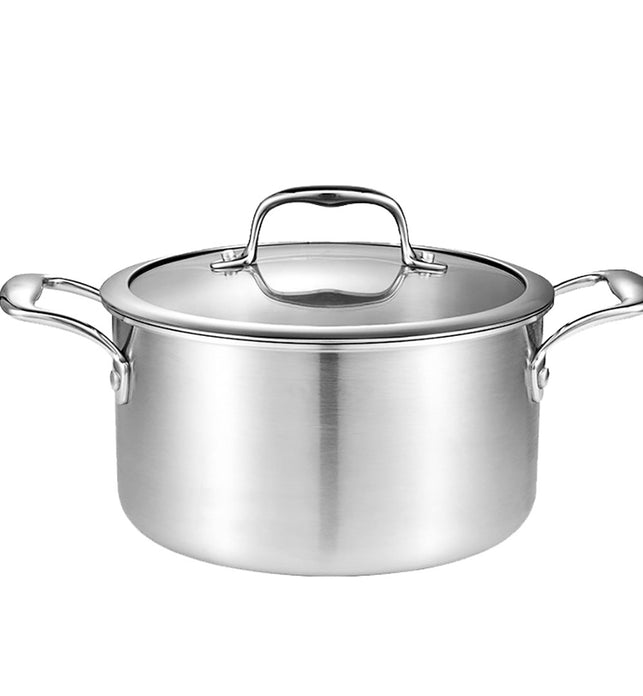 22cm Stainless Steel Soup Pot with Glass Lid