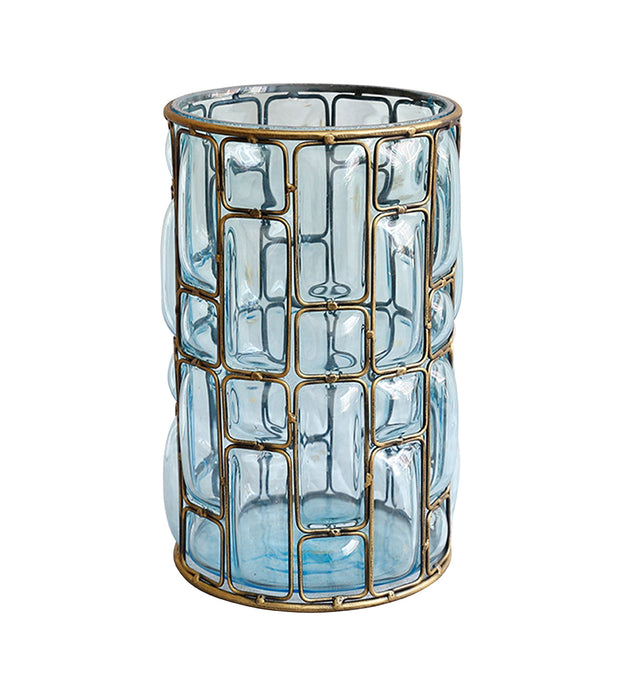 Blue European Glass Flower Vase with Gold Metal Pattern