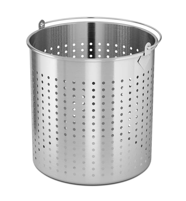 21L 18/10 Stainless Steel Perforated Pasta Strainer with Handle