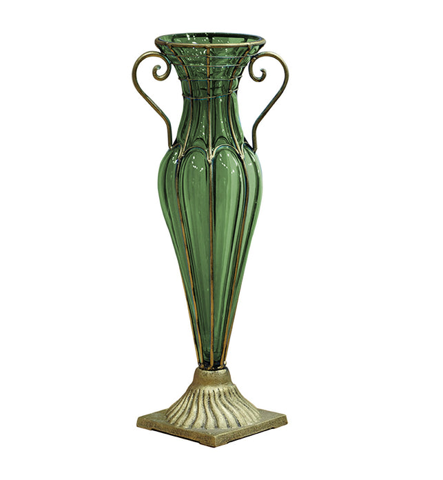 Green European Glass Flower Vase with Two Gold Metal Handle
