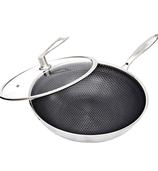 32cm Stainless Steel Frying Pan with Glass Lid