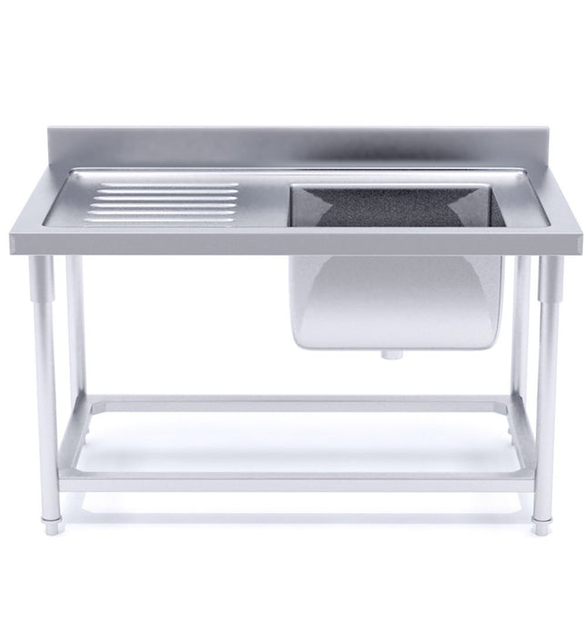 Commercial Stainless Steel Right Single Sink Work Bench 140*70*85