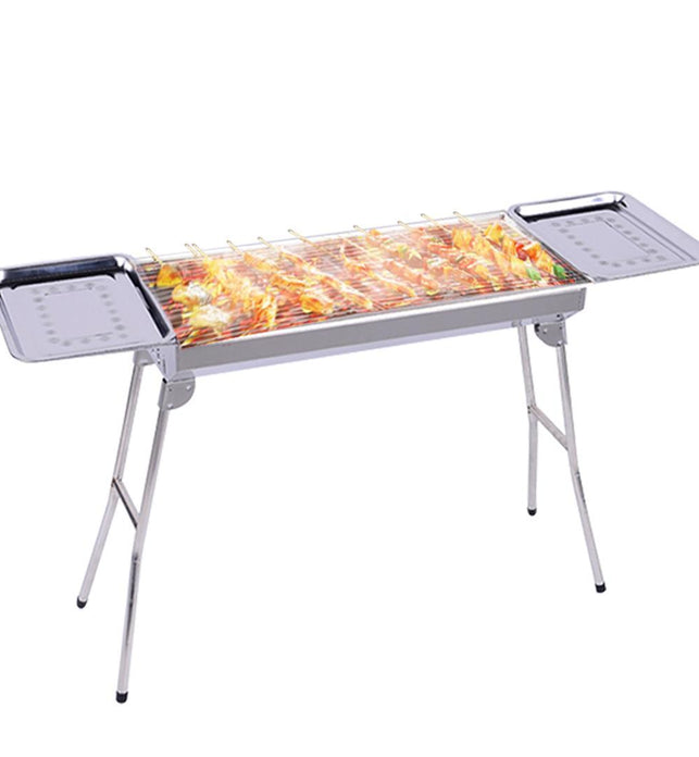 Stainless Steel Skewers BBQ Grill with Side Tray 6-8 Persons