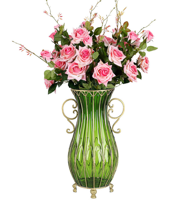 51cm Green Glass Floor Vase with 12pcs Pink Artificial Flower Set