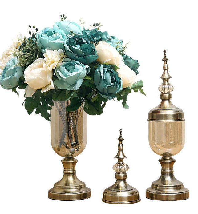 2x Clear Bronze Glass Vase with Lid and Blue Flower Set