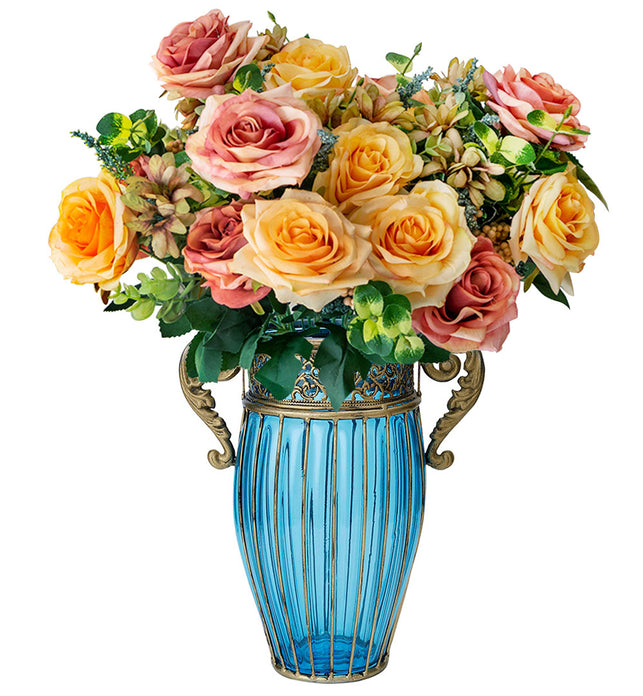 Blue Glass Flower Vase with 4 Bunch 11 Heads Artificial Silk Rose Set