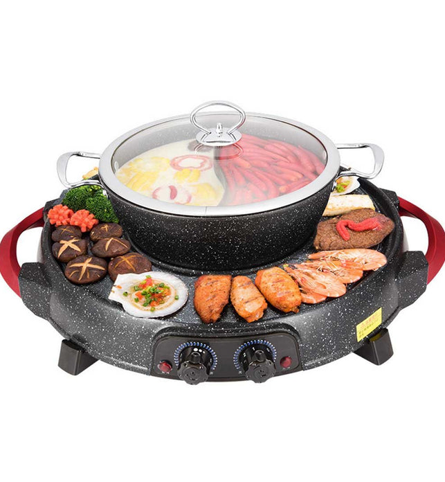 2 in 1 Electric Stone Coated Grill and Hotpot with Division