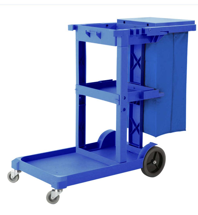 3 Tier Multifunction Janitor Cart and Bag with Lid Blue