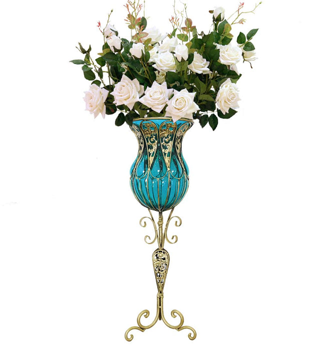 85cm Blue Glass Floor Vase and 12pcs White Artificial Flower Set