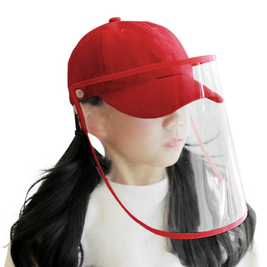 Outdoor Protective Hat Full Face HD Shield Cover Kids Red