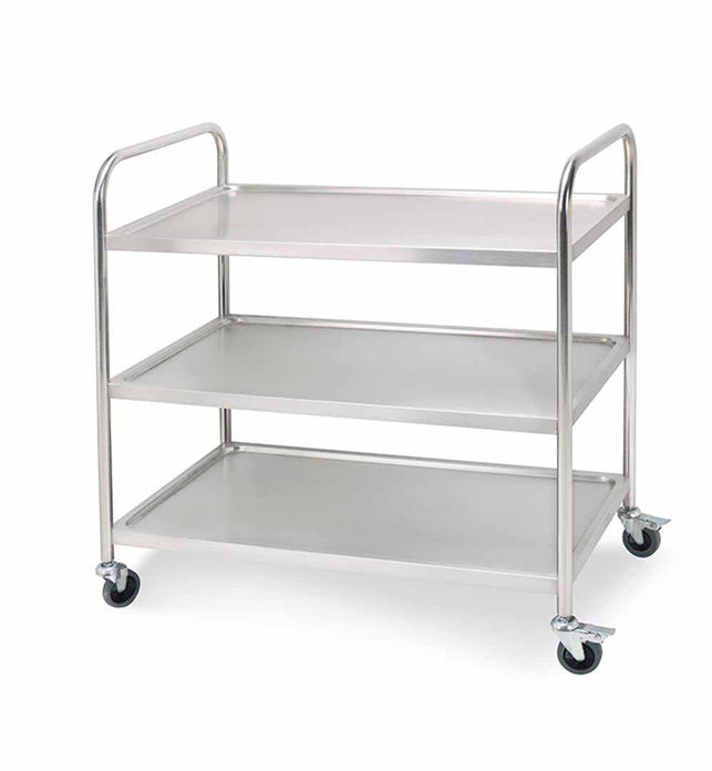 3 Tier Stainless Steel Utility Cart Round 86x54x94cm Large