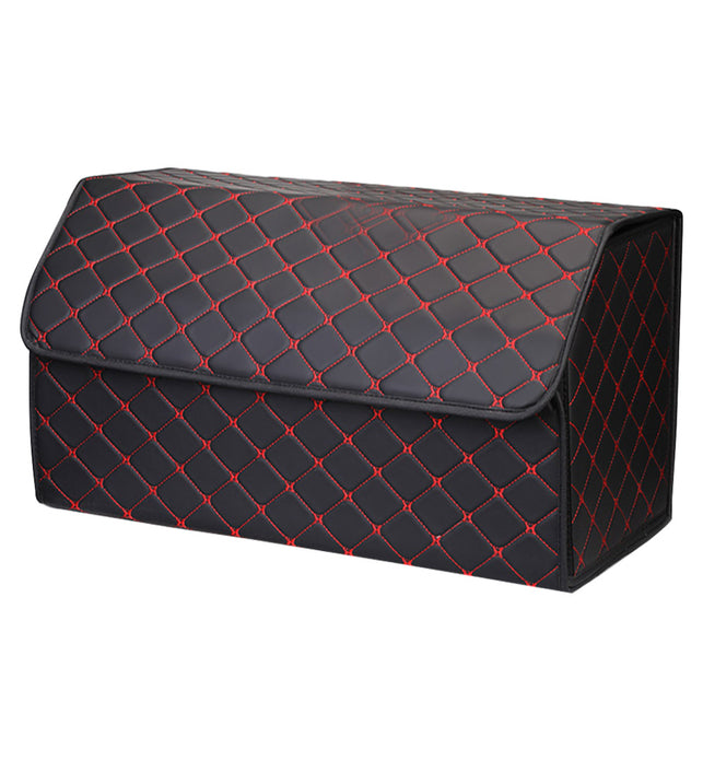 Leather Car Boot Foldable Trunk Cargo Organizer Box Black/Red Stitch Large