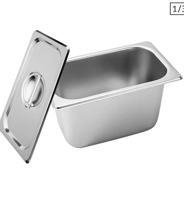 Gastronorm GN Pan Full Size 1/3 GN Pan 15cm Deep Stainless Steel Tray With Lid