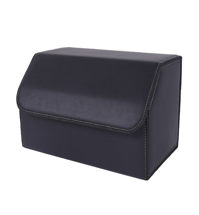 Leather Car Boot Foldable Trunk Cargo Organizer Box Black Medium