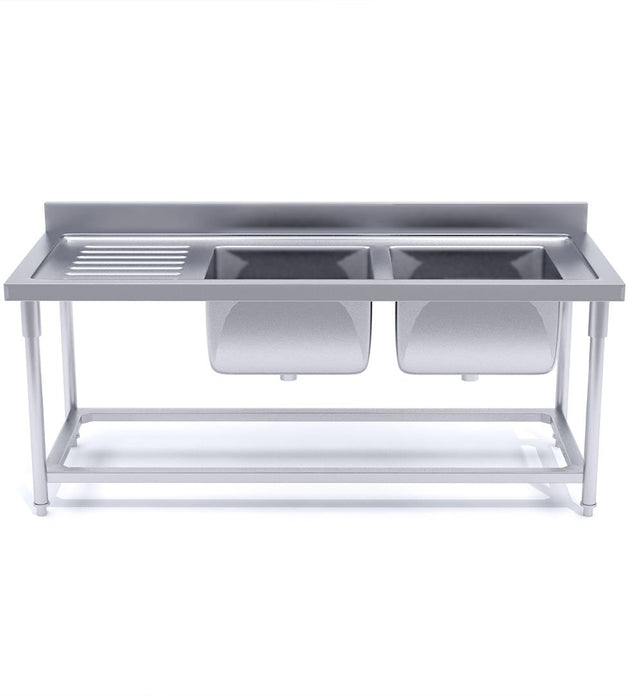Commercial Stainless Steel Right Dual Sink Bench 160*70*85