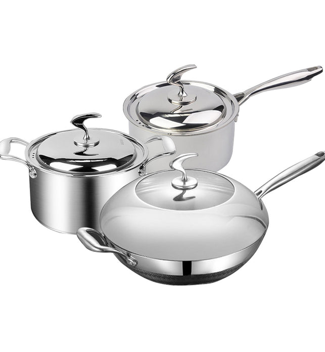 6 Piece Cookware Set Frying Pan, Milk, and Soup Pot with Lid