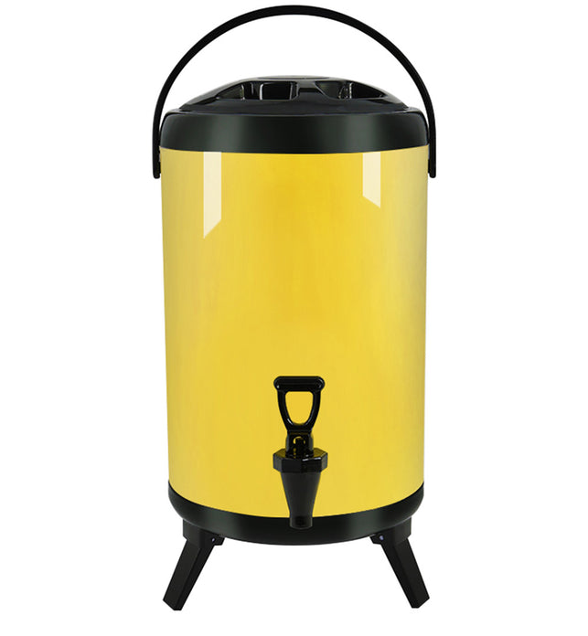 14L Stainless Steel Milk Tea Barrel with Faucet Yellow