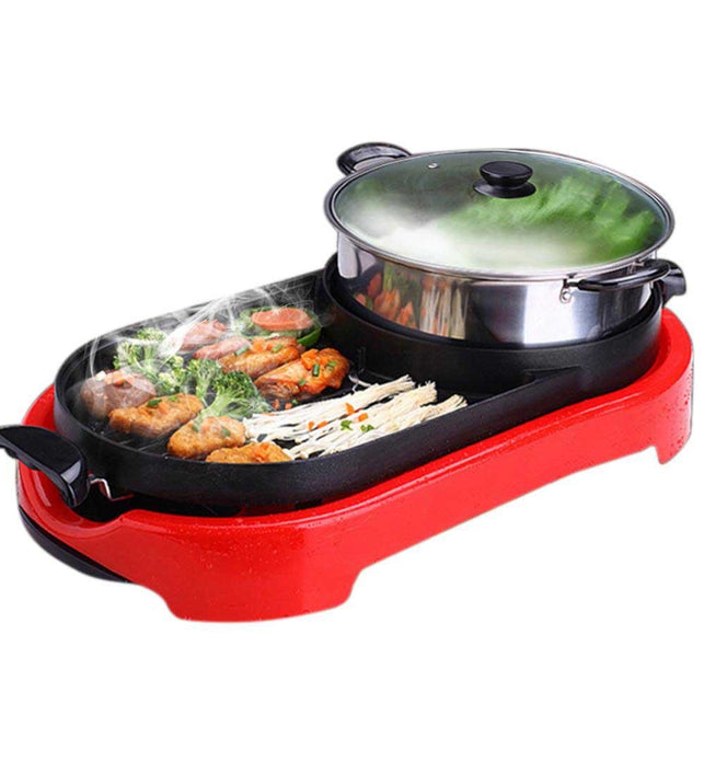 2 in 1 Electric BBQ Grill and Hotpot Red