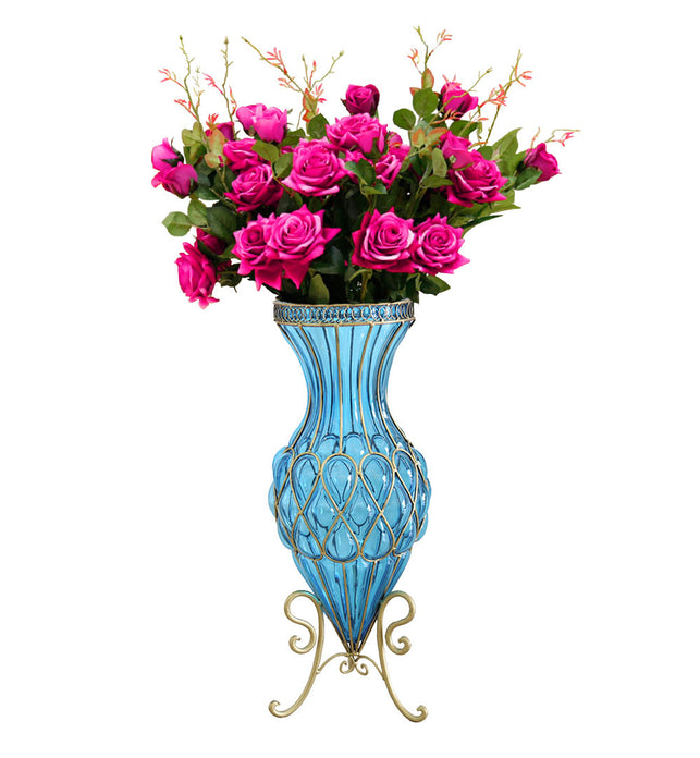 67cm Blue Glass Floor Vase and 12pcs Dark Pink Artificial Flower Set