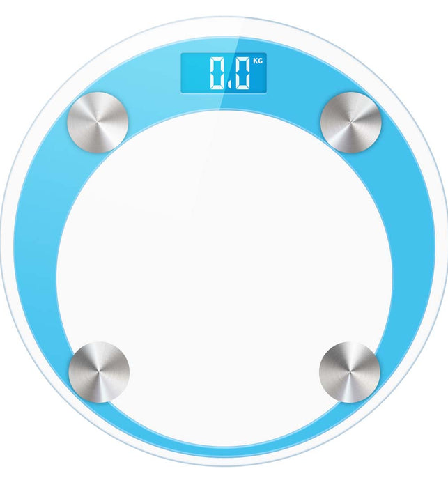 180kg Digital Glass LCD Scales Round Blue