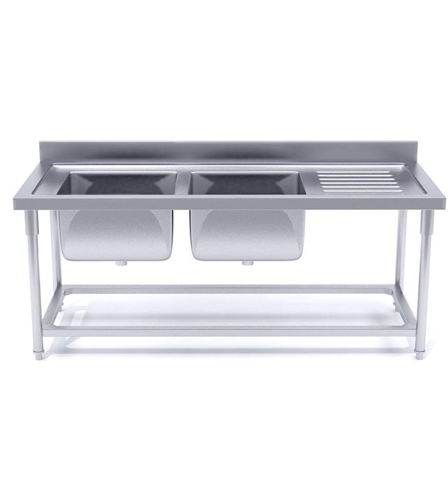 Commercial Stainless Steel Left Dual Sink Work Bench 160*70*85cm